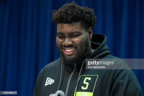 Louisville offensive lineman Mekhi Becton answers questions from the media during the NFL Scouting Combine on February 26 2020 at the Indiana...