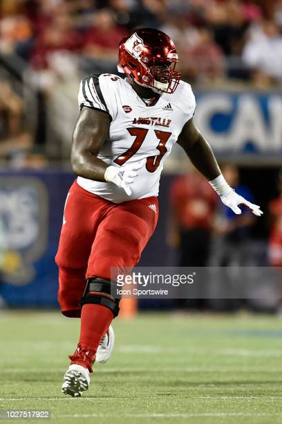 Louisville offensive lineman Mekhi Becton during the first half of the Camping World Kickoff game between the Alabama Crimson Tide and the Louisville...