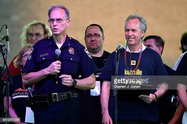 Louisville Police Chief Steve Conrad speaks during the 2016 Kentuckiana Pride Festival on June 17, 2016 in Louisville, Kentucky.