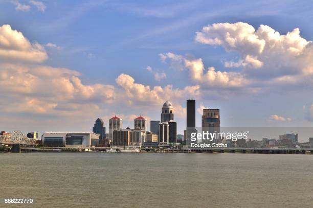 Louisville skyline seeen from across the Ohio river in Indiana