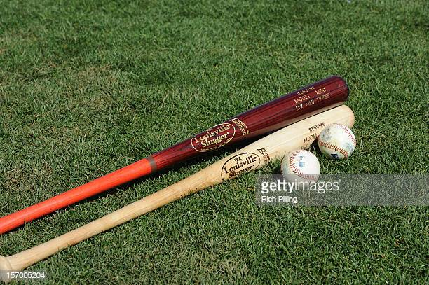 Louisville Slugger bats and Rawlings baseballs are seen prior to the game between the Seattle Mariners and Texas Rangers at Surprise Stadium on March...