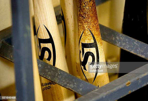 Louisville Slugger bats sit in the San Diego Padres dugout before the game against the Milwaukee Brewers at Miller Park on May 13 2016 in Milwaukee...