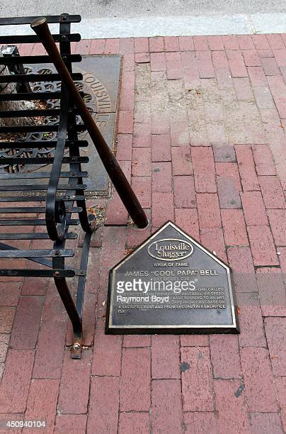 """Louisville Slugger's walk of fame honors James """"Cool Papa"""" Bell with baseball bat and home plate plaque on May 30, 2014 in Louisville, Kentucky."""