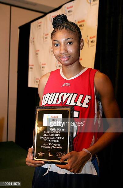 Louisville sophomore forward Angel McCoughtry holds her 2007 Kodak WBCA AllAmerica plague at the Marriott Hotel Cleveland Ohio March 31 2007