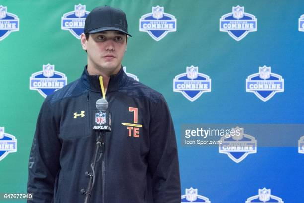 Louisville tight end Cole Hikutini answers questions to members of the press during the NFL Scouting Combine on March 3 2017 at Lucas Oil Stadium in...
