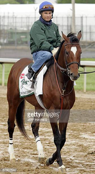 Jockey Alex Solis leads likely race favorite Brother Derek 01 May 2006 onto the track for his morning workout for the 132nd running of the Kentucky...