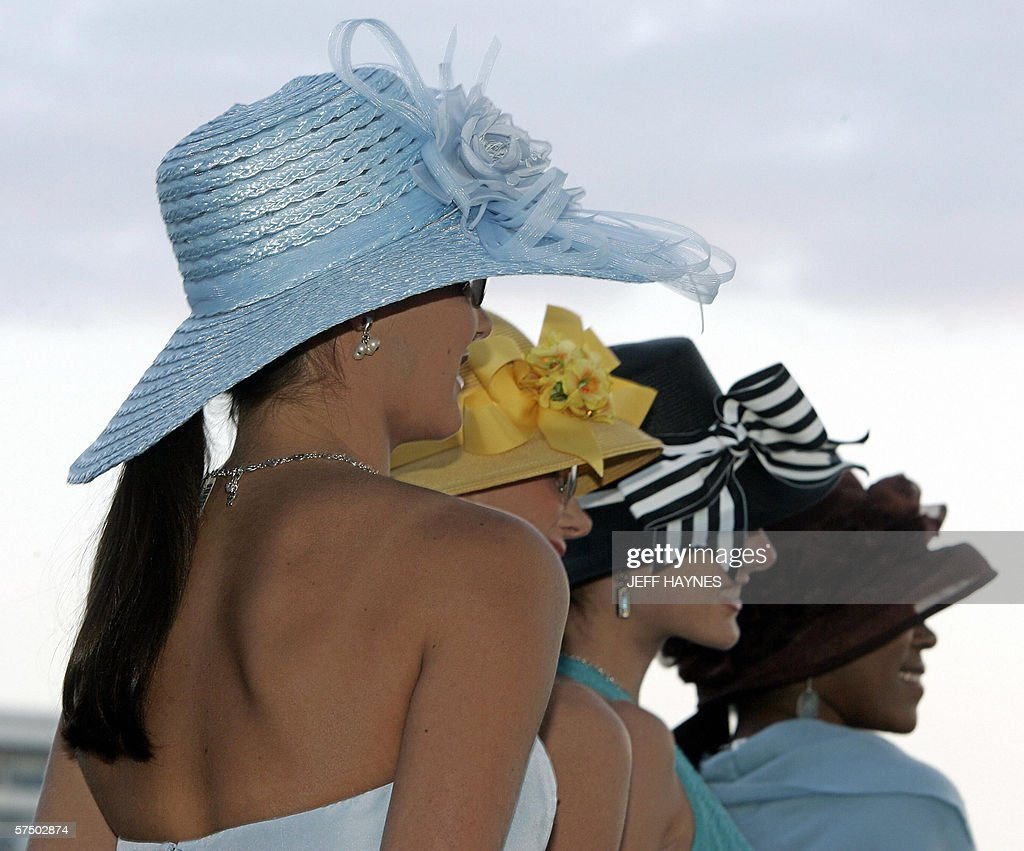 Models show off ladies Derby Hats 01 May : News Photo