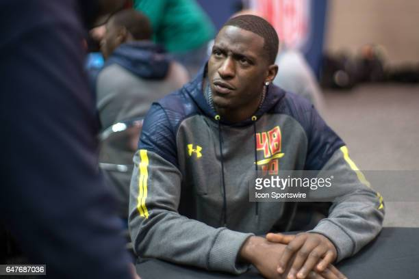 Louisville wide receiver Jamari Staples answers questions to members of the press during the NFL Scouting Combine on March 3 2017 at Lucas Oil...