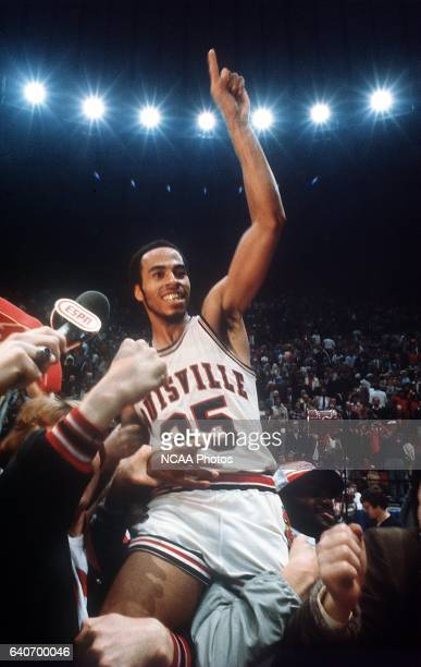 Louisville's Darrell Griffith is paraded around the court on the shoulder of his team mates after winning NCAA Photos via Getty Images National...