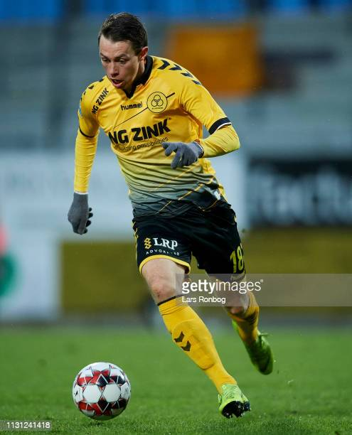 Louka Prip of AC Horsens controls the ball during the Danish Superliga match between AC Horsens and Brondby IF at CASA Arena on March 17 2019 in...