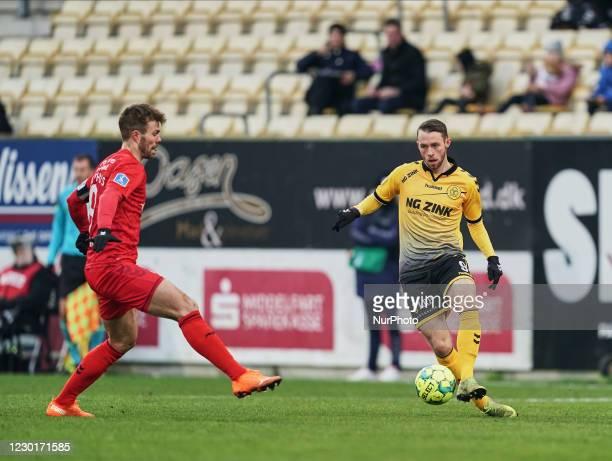 Louka Prip of AC Horsens during the Superliga match between AC Horsens versus Aarhus GF at Casa Arena Horsens , Horsens, Denmark on December 13, 2020.