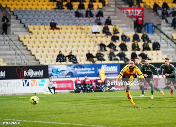 Louka Prip of AC Horsens missing penalty during the Superliga match between AC Horsens and Brøndby at CASA Arena, Horsens, Denmark on December 20,...