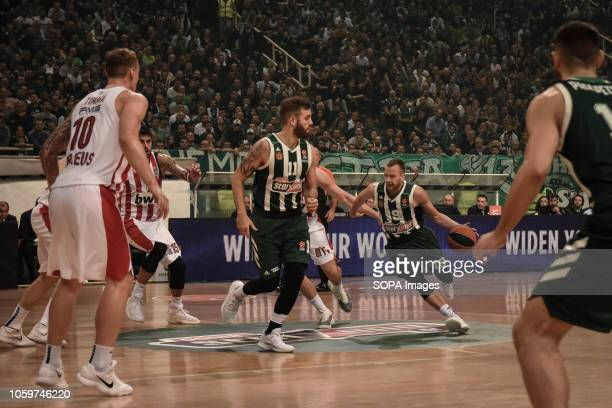 Loukas Lekavitsiou seen in action during the 2018/2019 Turkish Airlines EuroLeague Regular Season Round 6 game between Panathinaikos OPAP Athens and...