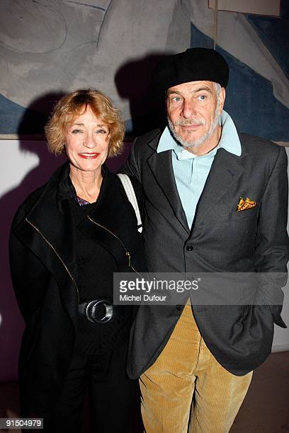 Loulou de la Falaise and her husband Thadee Klossowski attend the Moncler Collection by Giambattista Valli on October 6 2009 in Paris France