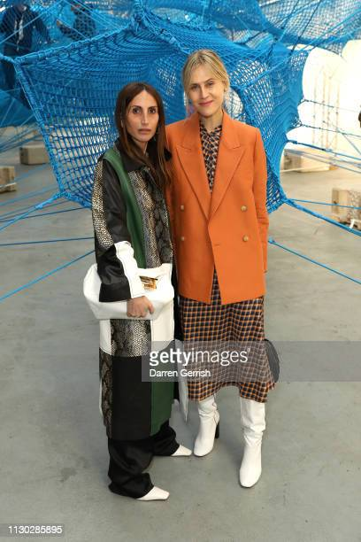 Loulou De Saison and Linda Tol attends the Anya Hindmarch Presentation show during London Fashion Week February 2019 on February 17 2019 in London...