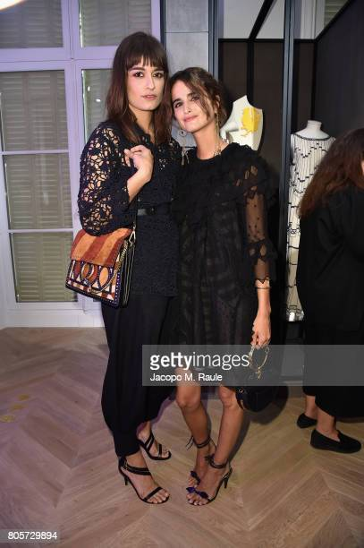 Loulou Robert and Clara Luciani attend Guy Bourdin inaugural exhibition and unveiling of Maison Chloe as part of Paris Fashion Week at Maison Chloe...