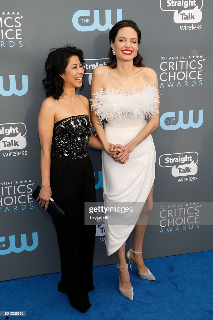 Loung Ung and Angelina Jolie attend the 23rd Annual Critics' Choice Awards at Barker Hangar on January 11, 2018 in Santa Monica, California.