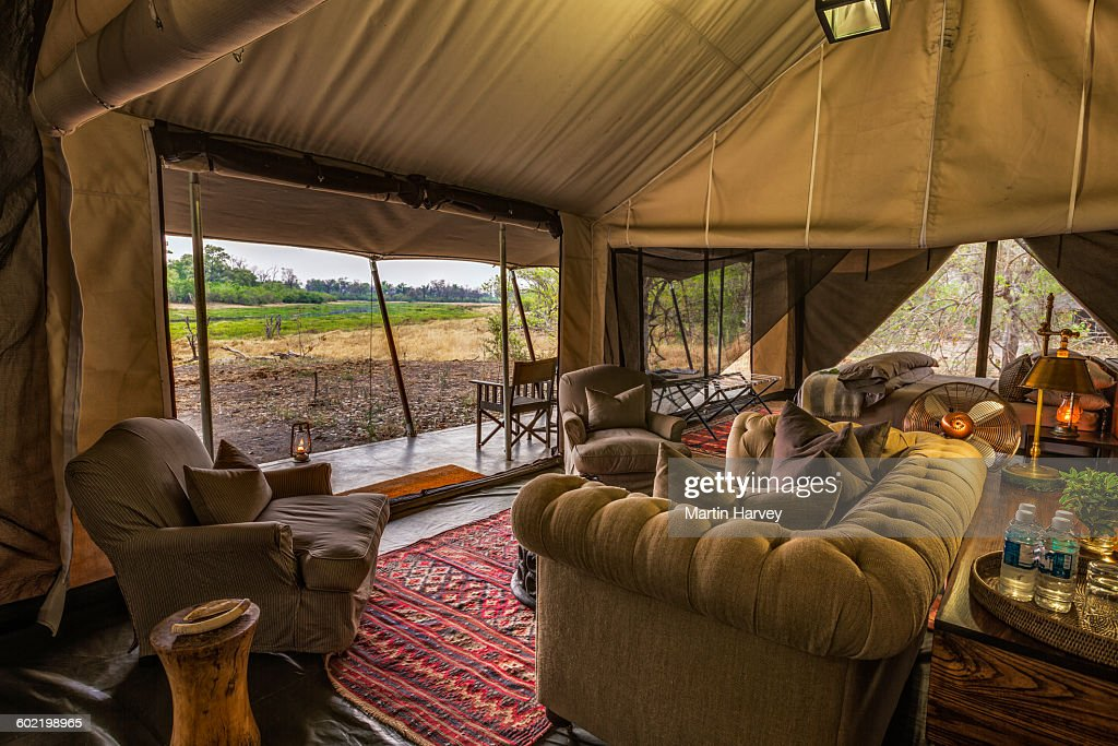 Lounge area of luxury family tent Machaba C& Okavango Delta Botswana  Stock & Lounge Area Of Luxury Family Tent Machaba Camp Okavango Delta ...