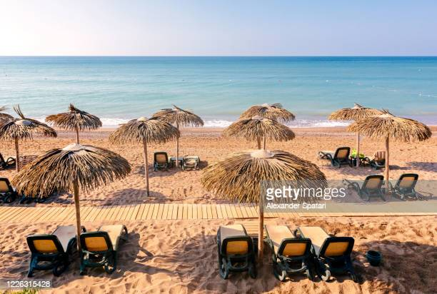 lounge chairs and thached umbrellas on the beach, high angle view - tourist resort stock pictures, royalty-free photos & images
