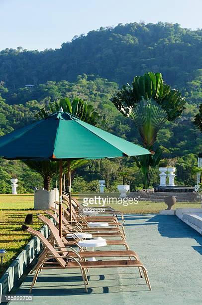 des chaises longues et des parasols au bord de la piscine. - ogphoto photos et images de collection