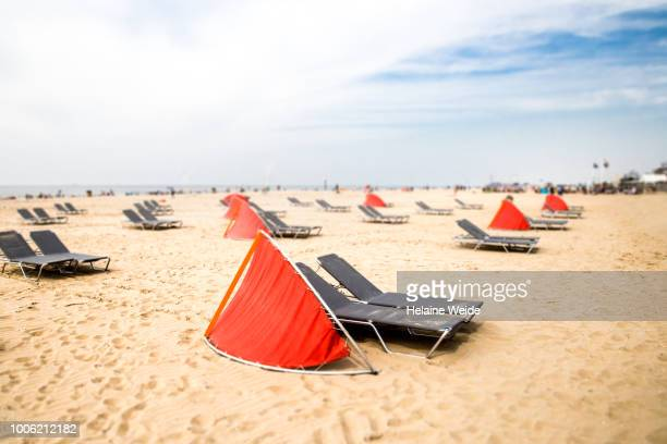 lounge chairs at the beach - butlins stock pictures, royalty-free photos & images