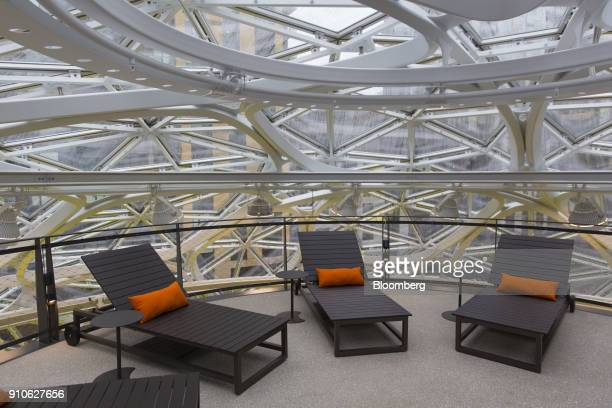 Lounge chairs for employees are seen inside the Amazoncom Inc Spheres in Seattle Washington US on Tuesday Jan 23 2018 The online retailer is...