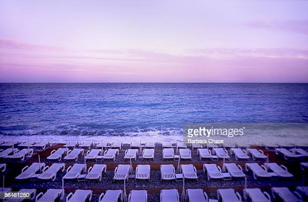 Lounge chairs on beach