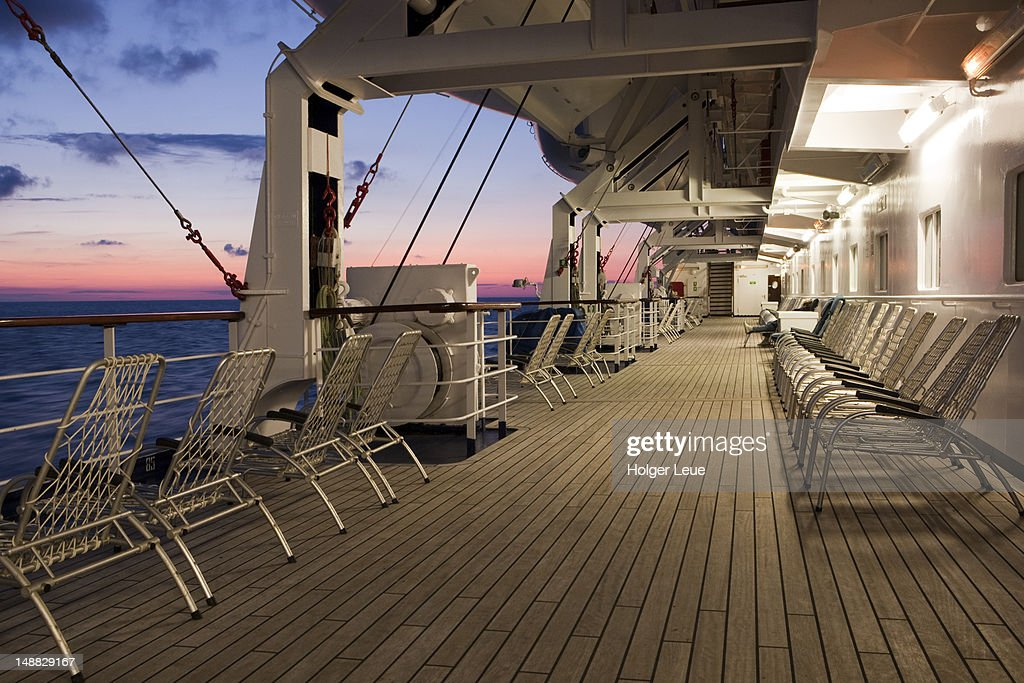 lounge chairs on deck of cruise ship ms astor during baltic sea