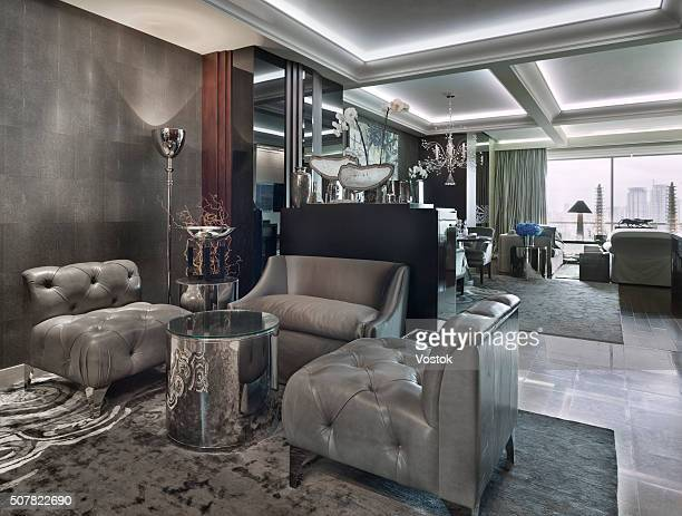 lounge in the city apartment in moscow - high society stock pictures, royalty-free photos & images