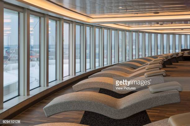 Loungers in the spa. Norwegian Cruise Ship _x0013_ The Escape, Southampton, United Kingdom. Architect: SMC Design, 2015.