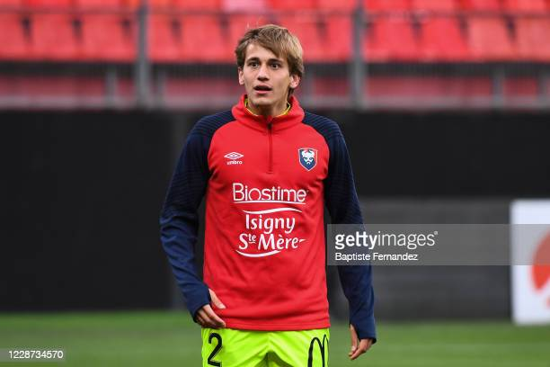 Loup HERVIEU of Caen before the French Ligue 2 soccer match between Valenciennes and Caen on September 26 2020 in Valenciennes France