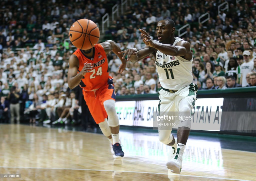 Lourawls Nairn Jr. #11 of the Michigan State Spartans looks to pass the ball during a game against the Illinois Fighting Illini at the Breslin Center on February 20, 2018 in East Lansing, Michigan.