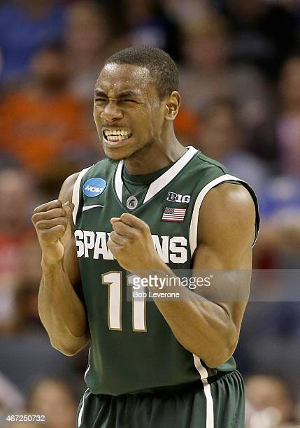 Lourawls Nairn Jr #11 of the Michigan State Spartans reacts against the Virginia Cavaliers during the third round of the 2015 NCAA Men's Basketball...