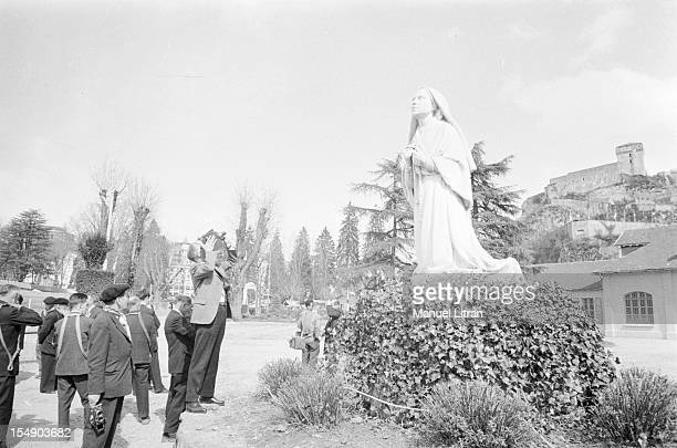 Lourdes 25 March 1958 Inauguration of the Basilica of St Pius large underground hall of 14000 m2 of concrete located under the plaza and conceived by...