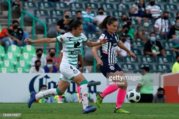 Lourdes De Leon of Santos fights for the ball with Monica Monsivais of Monterrey during a match between Santos and Monterrey as part of the Torneo...