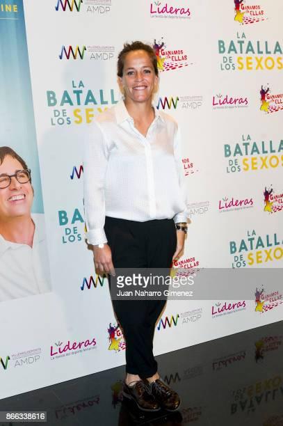 Lourdes Dominguez attends 'La Batalla De Los Sexos' premiere at Academia de Cine on October 25, 2017 in Madrid, Spain.