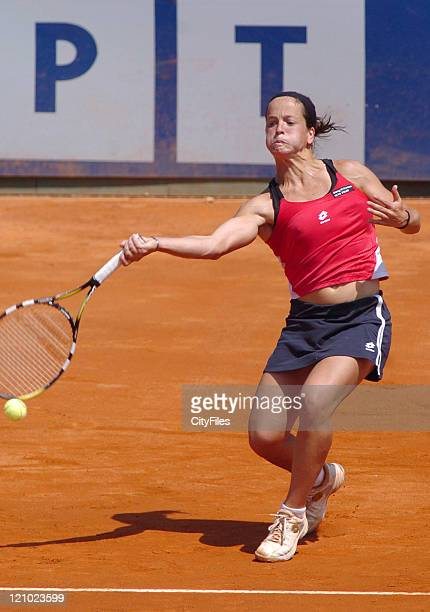 Lourdes Dominguez Lino during a match against Magali de Lattre in the first round of the 2006 Estoril Open at Estadio Nacional in Estoril Portugal on...