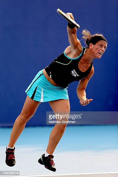 Lourdes Dominguez Lino of serves to Laura Robson of Great Britain during the China Open at the China National Tennis Center on October 2, 2012 in...