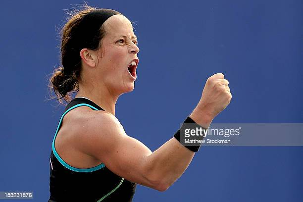 Lourdes Dominguez Lino of Spain celebrates match point against Laura Robson of Great Britain during the China Open at the China National Tennis...