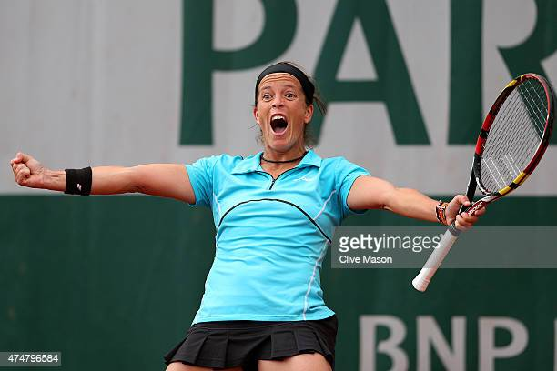 Lourdes Dominguez Lino of Spain celebrates match point during her women's singles match against Christina Mchale of the United States on day three of...