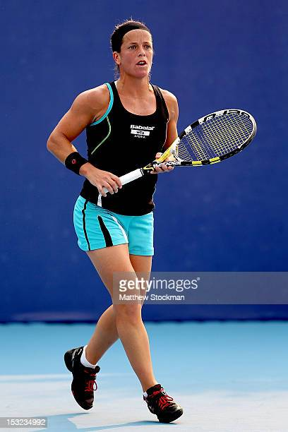 Lourdes Dominguez Lino of Spain plays Laura Robson of Great Britain during the China Open at the China National Tennis Center on October 2, 2012 in...