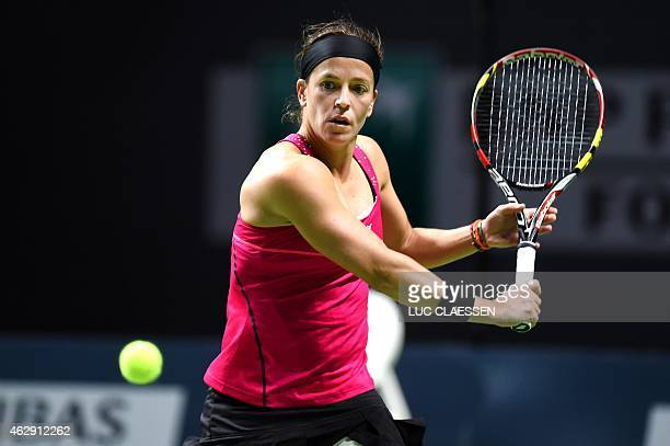Lourdes Dominguez Lino plays a shot during her match against Vesna Dolonc of Serbia at the Antwerp Diamond Games tennis tournament in Antwerp on...