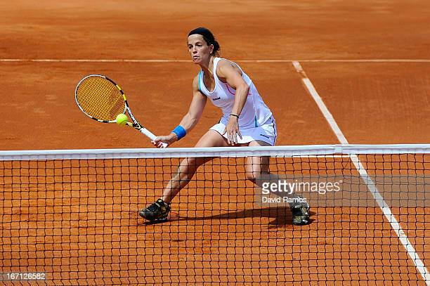 Lourdes Dominguez of Spain returns the ball during her double match against Shuko Aoyama and Misaki Doi of Japan during the day two of the Fed Cup...