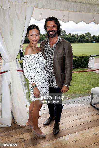 Lourdes Faberes and Christian Vit attends at the Lux Afrique Polo Day at the Ham Polo Club on August 3 2019 in Richmond England