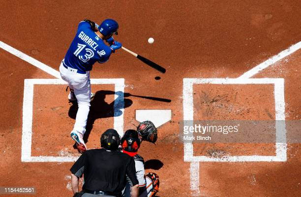 Lourdes Gurriel Jr #13 of the Toronto Blue Jays hits a two run home run against the Baltimore Orioles in the first inning during their MLB game at...