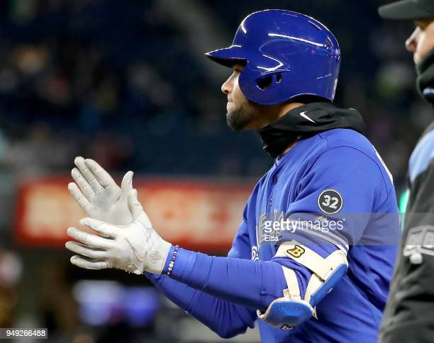 Lourdes Gurriel Jr#13 of the Toronto Blue Jays celebrates his RBI single in the fifth inning against the Toronto Blue Jays at Yankee Stadium on April...