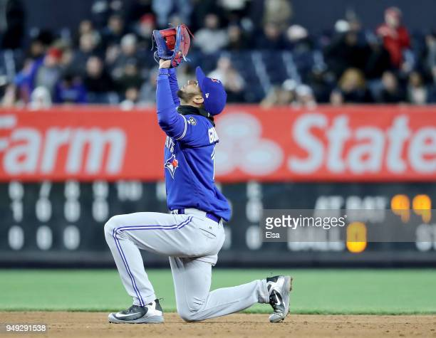 Lourdes Gurriel Jr#13 of the Toronto Blue Jays celebrates the 85 win over the New York Yankees at Yankee Stadium on April 20 2018 in the Bronx...