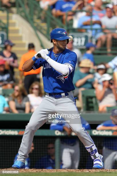 Lourdes Gurriel of the Blue Jays at bat during the spring training game between the Toronto Blue Jays and the Baltimore Orioles on March 08 2017 at...