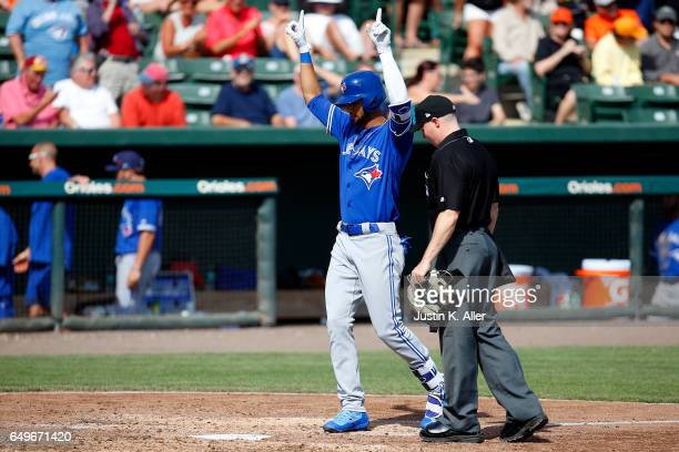 Lourdes Gurriel of the Toronto Blue Jays celebrates after hitting a threerun home run in the seventh inning against the Baltimore Orioles in a spring...