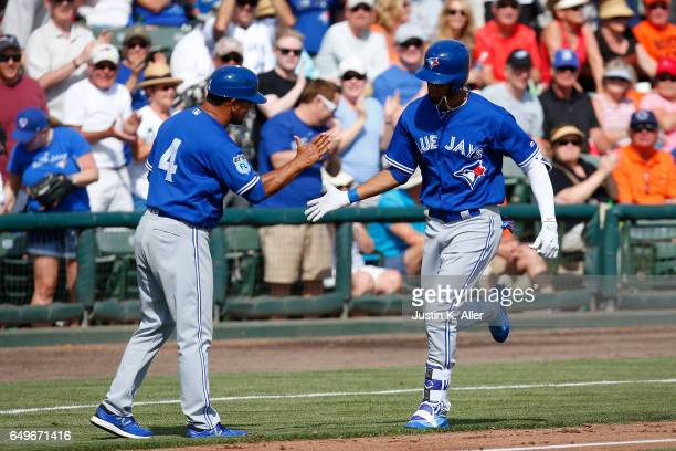 Lourdes Gurriel of the Toronto Blue Jays rounds third after hitting a threerun home run in the seventh inning against the Baltimore Orioles in a...